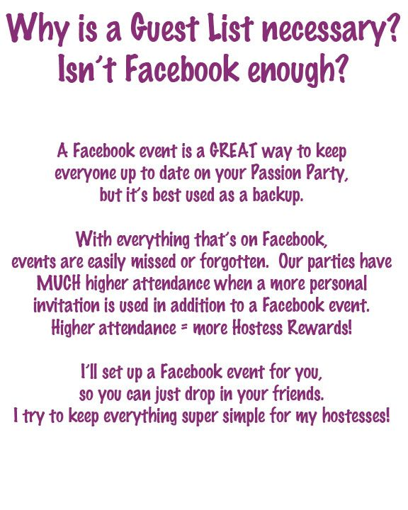 Why a guest list? Isn't Facebook enough?   Passion Hostesses