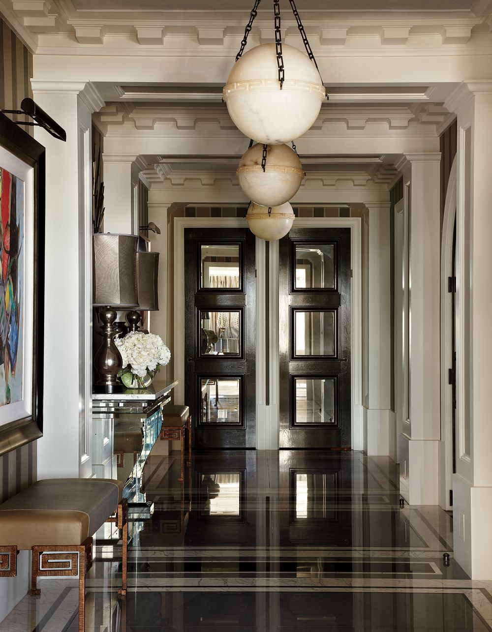 Art deco hallway lights  Traditional Entrance Hall by JeanLouis Deniot in Chicago Illinois
