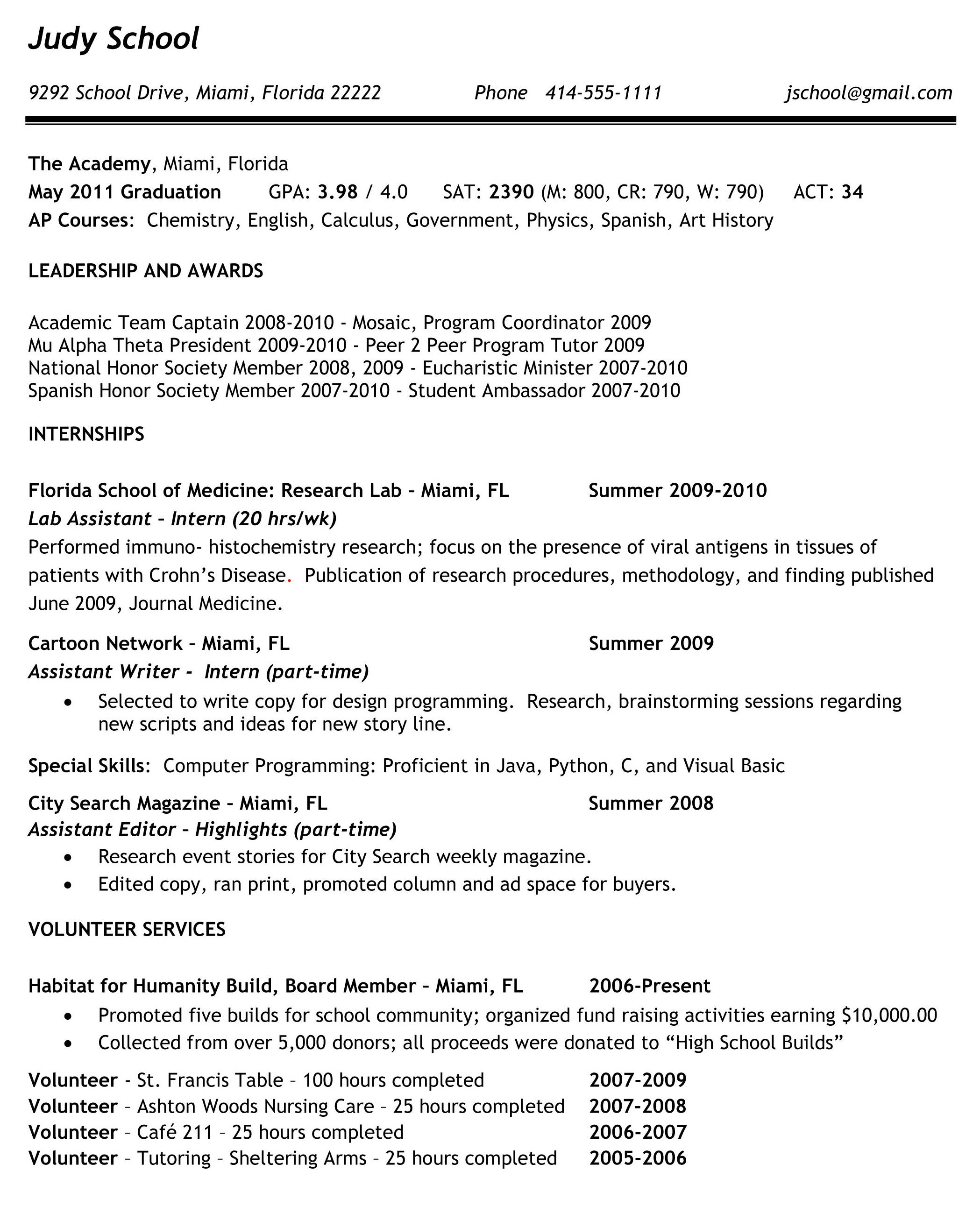 College Resume Endearing High School Resume Examples For College Admission Sample Resumes Decorating Inspiration