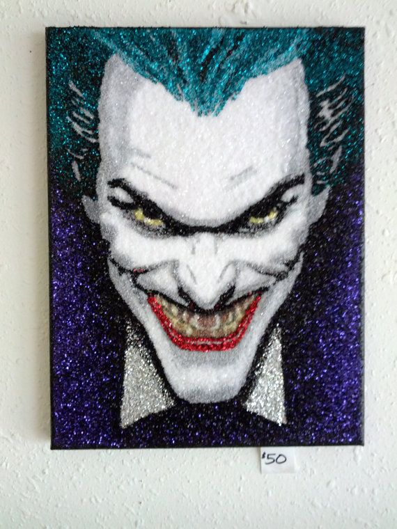 Joker glitter art 9x12 by TigerGalindo on Etsy, $50.00
