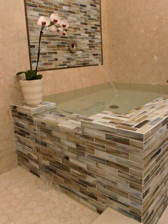 This is beautiful! Good tile example too! Bathtub for two, overflows into the shower!