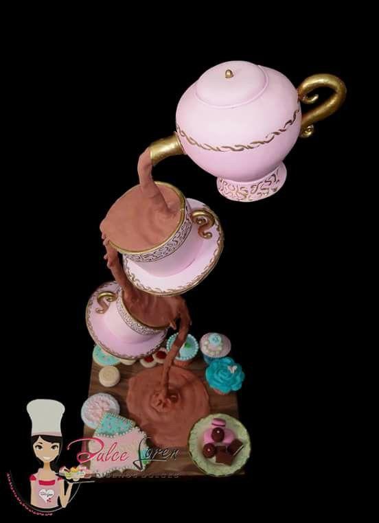 "Torta ""La hora del Té"" #torta #tetera #tazas #shabbychic #lahoradelté #té #dulce #estructura #cakes #tea #dulceloren #DulceLoren"