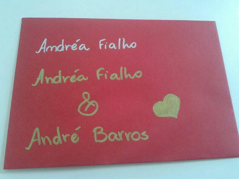 Teste da caneta no envelope - Chá Bar André <3 Andréa