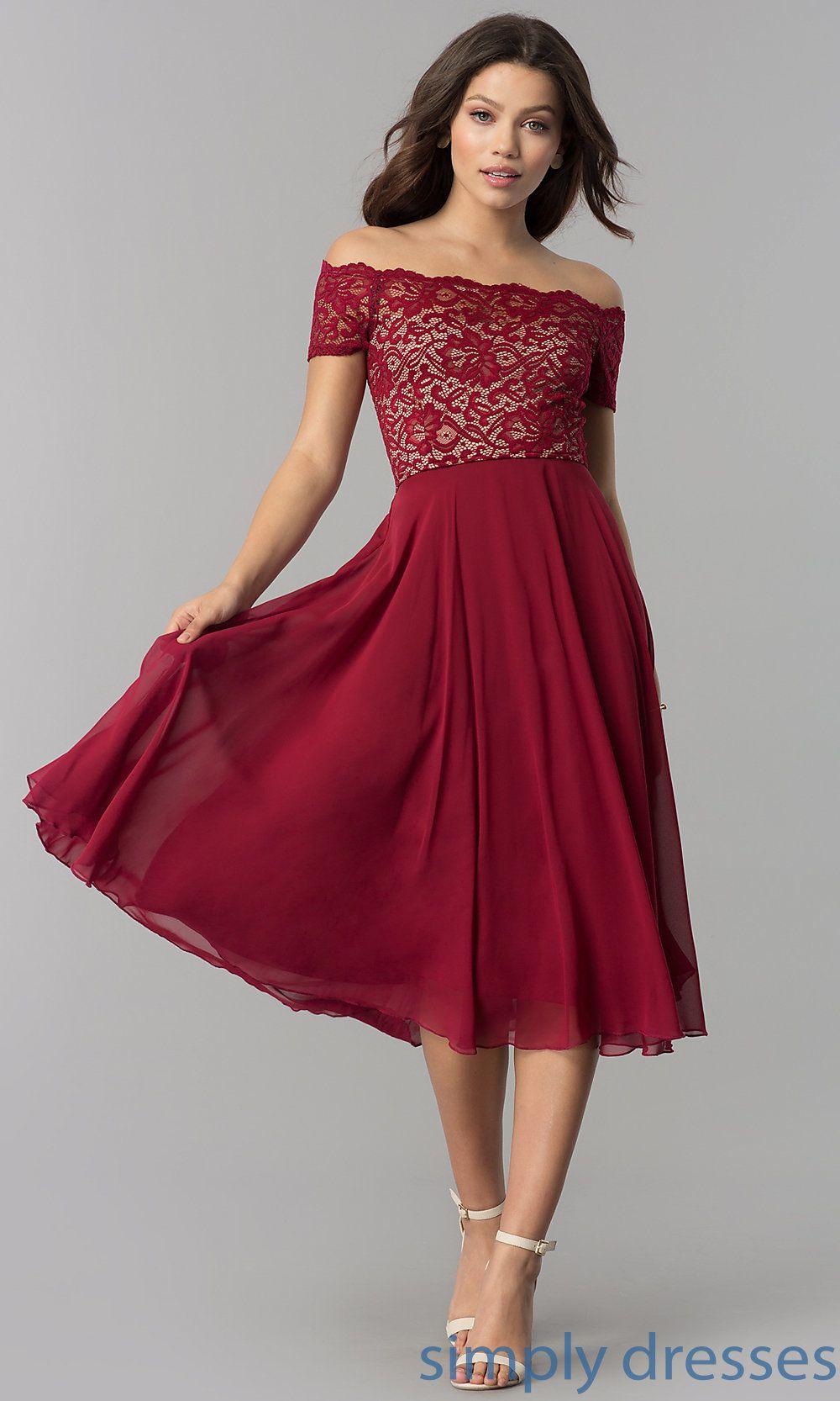 OfftheShoulder TeaLength WeddingGuest Dress in 2020