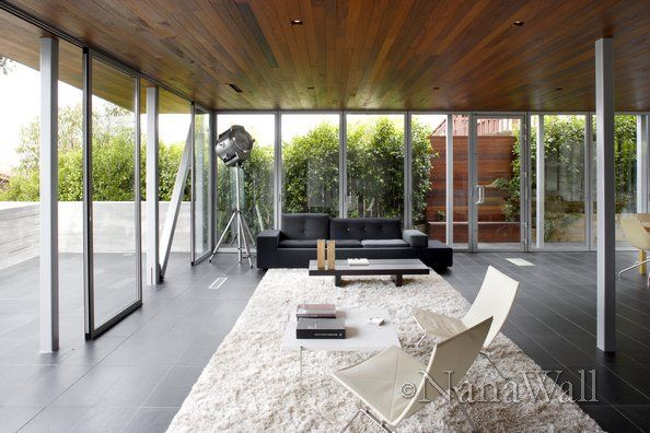 Modern Outdoor Room With NanaWall Glass Patio Enclosures.