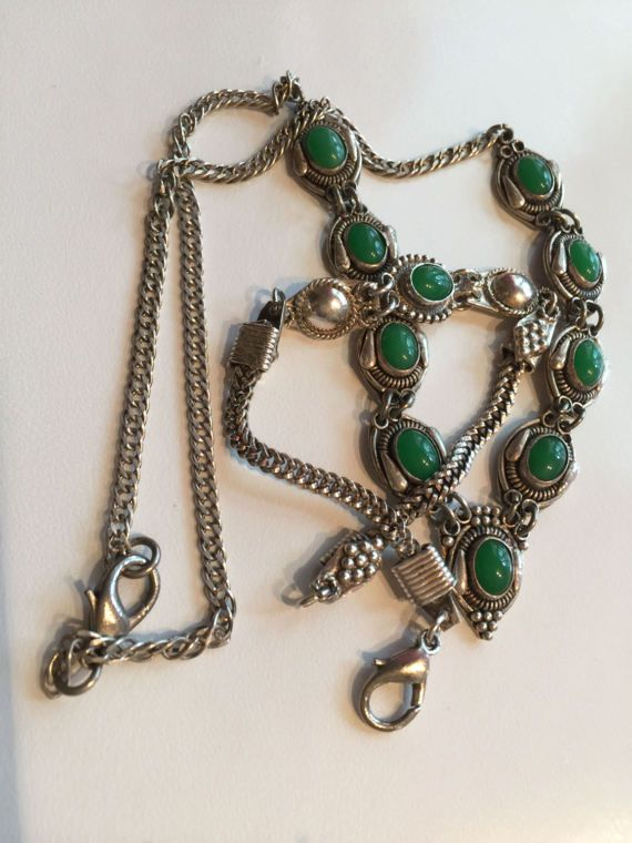 Antique Turkish Silver Jade Necklace and by