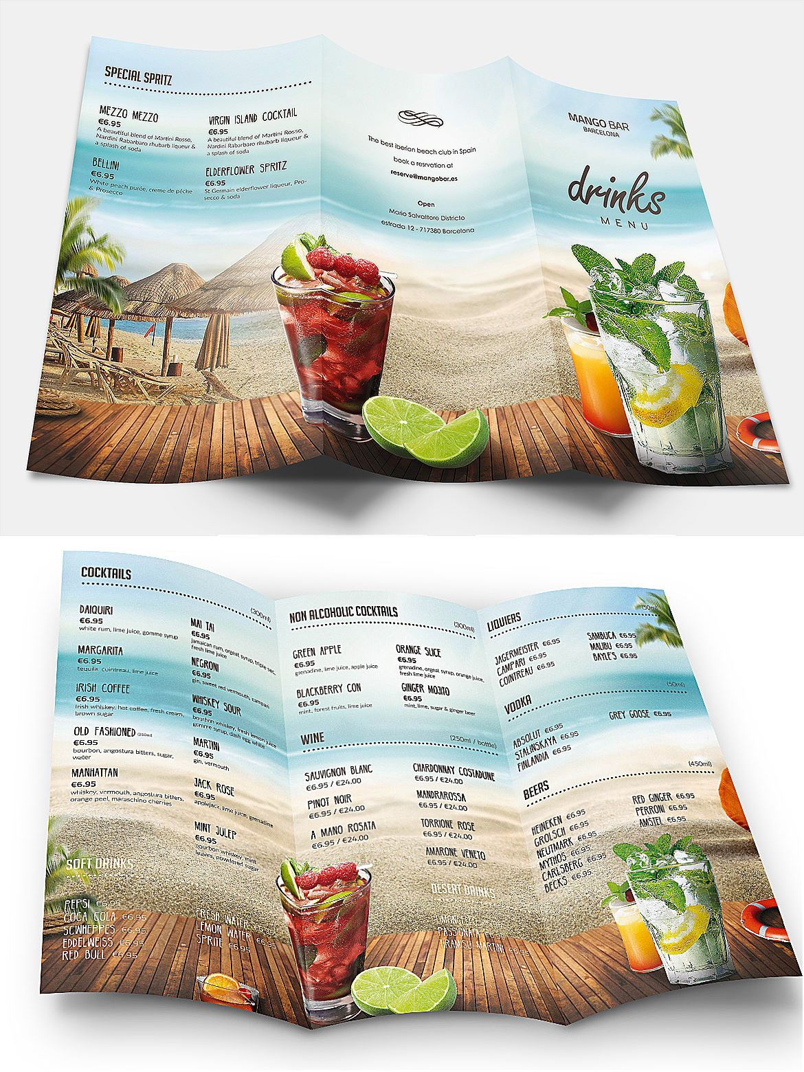 summer drinks menu template psd