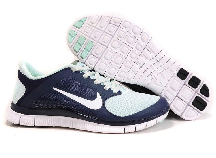 online store 0189b 07d01 Womens Blackened Blue White Fiberglass Nike Free 4.0 V3 Running Shoes Cheap   Sneakers 2014 for ...