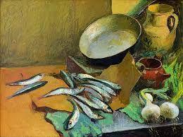 Warm koud contrast: Dit kun je zien doordat de vis een koud beeld geeft met de blauwe kleur en het aanrecht een warm beeld geeft met de oranje/bruine tafel.