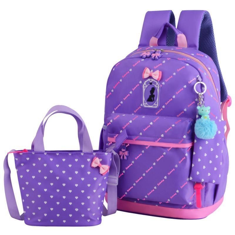 Backpack for Girls Hearts Bow 3pcs Waterproof School Backpack