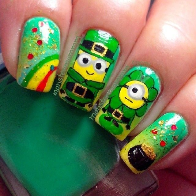 sparkling green st. patrick\'s day clover minion and rainbow nails ...