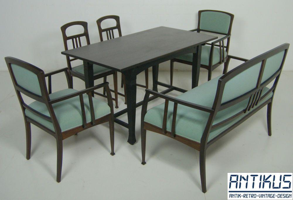 restauriert 6 Tisch teilig Esszimmer Sitzgarnitur Jugendstil w80kOnP