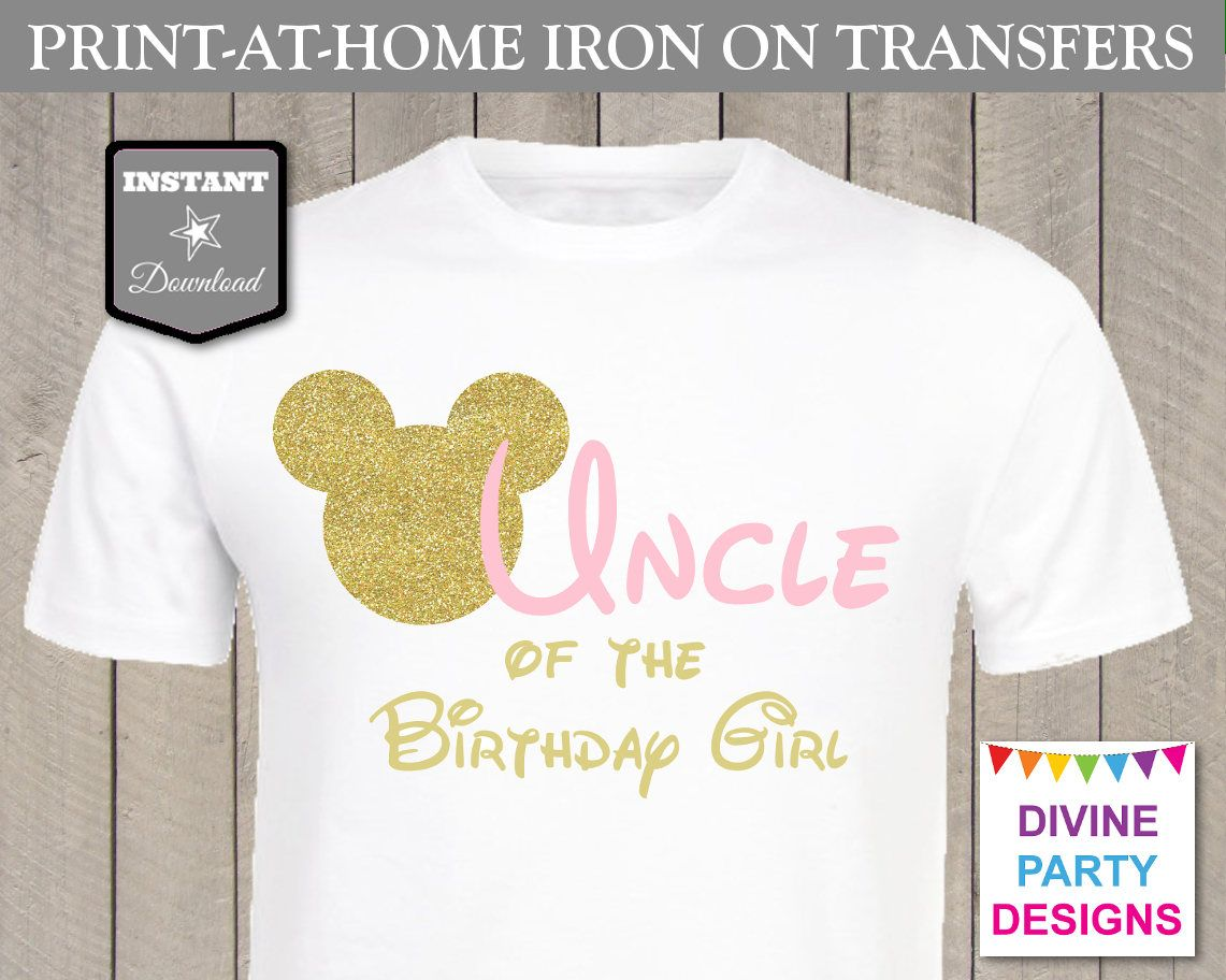 INSTANT DOWNLOAD Print at Home Pink and Gold Mouse Uncle of the ...