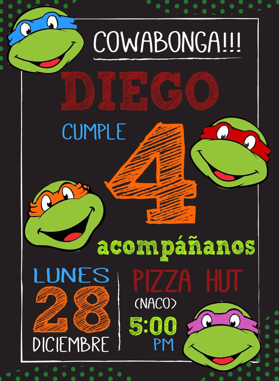 Ninja turtle invitation digital invitations pinterest ninja turtle invitation digital solutioingenieria Images