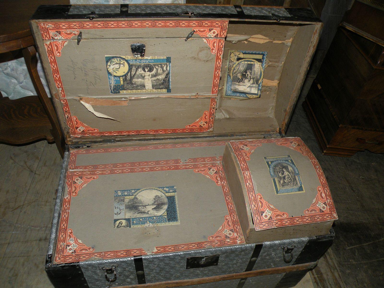 Details About Antique Saratoga Humpback Wood Slat Metal