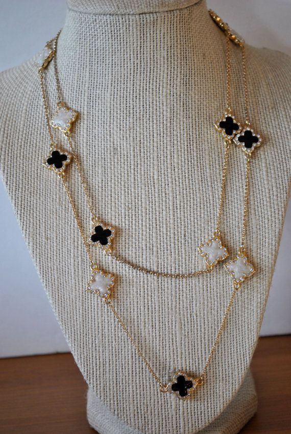 Black And White Louis Vuitton Clover Necklace Sale By