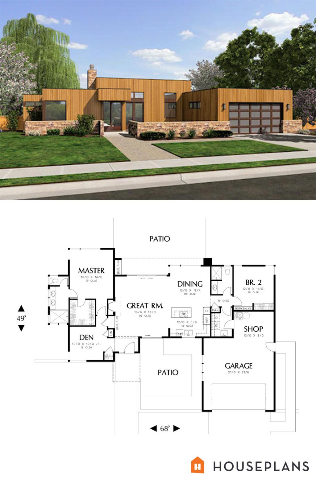 Modern Style House Plan 2 Beds 2 Baths 1508 Sq Ft Plan 48 505 Modern Style House Plans House Plans Mid Century Modern House Plans