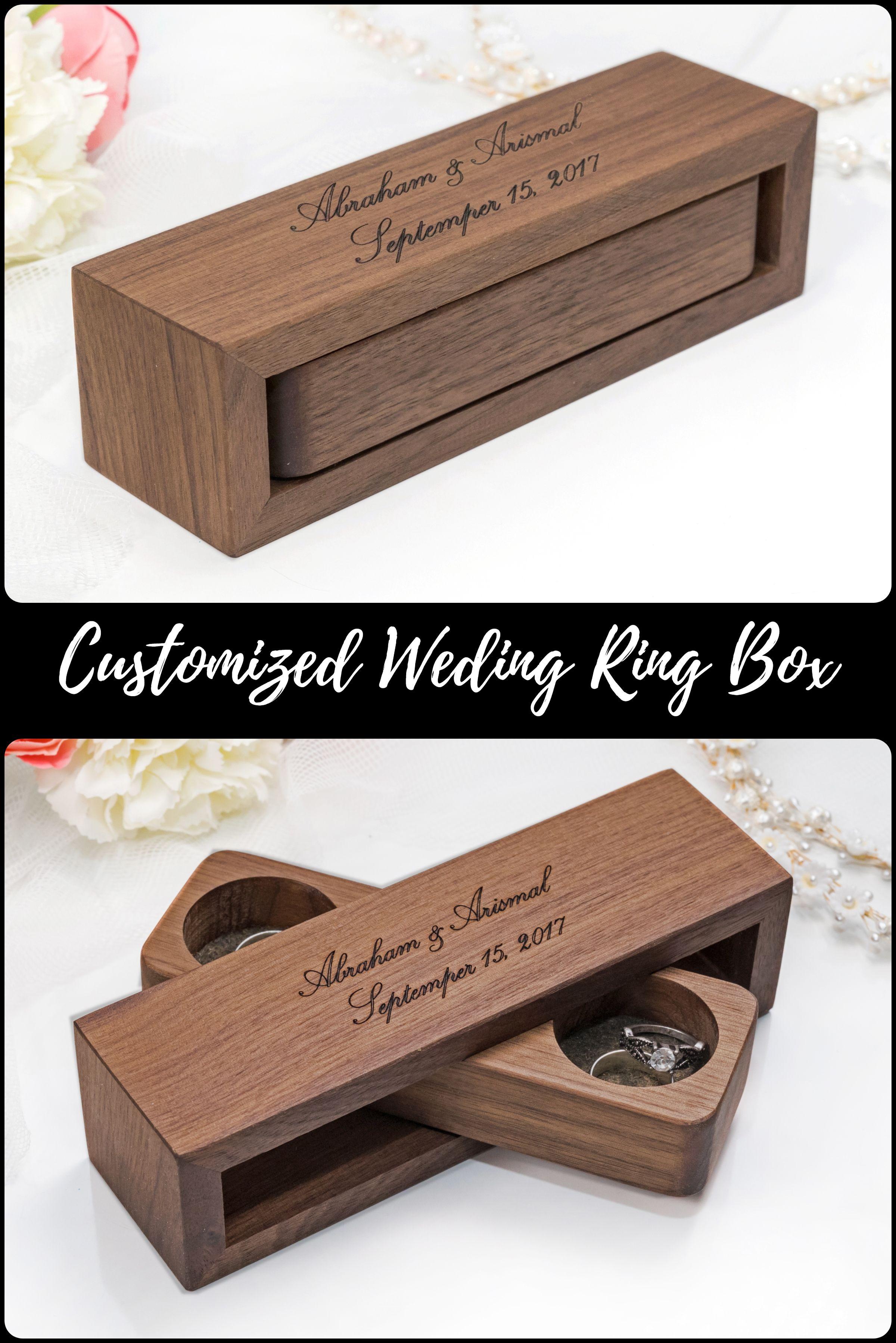 Ring Bearer Proposal Ring Box Personalized Engraved Walnut Wooden Ring Box Anniversary Band Box Wedding Ring Holder