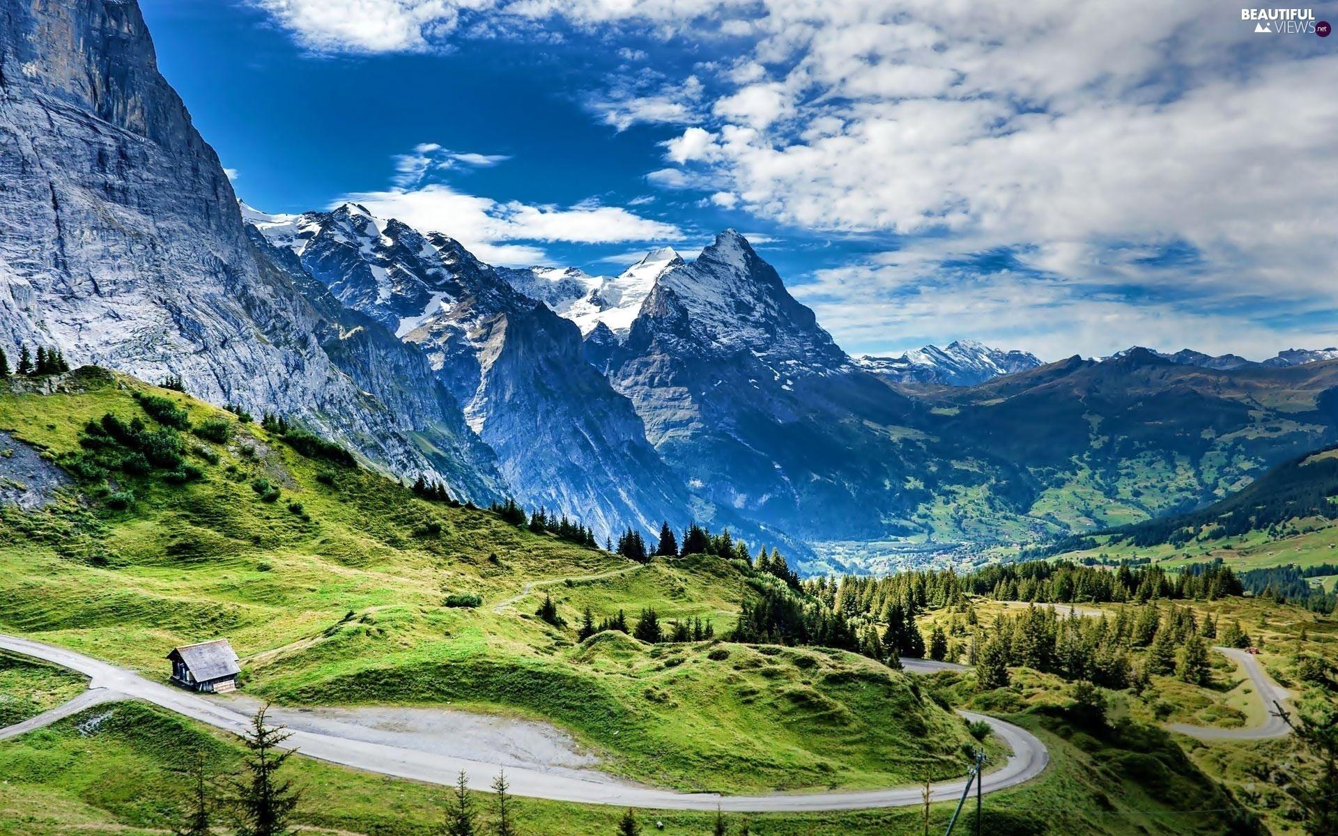 House Roads Glade Mountains Switzerland Woods