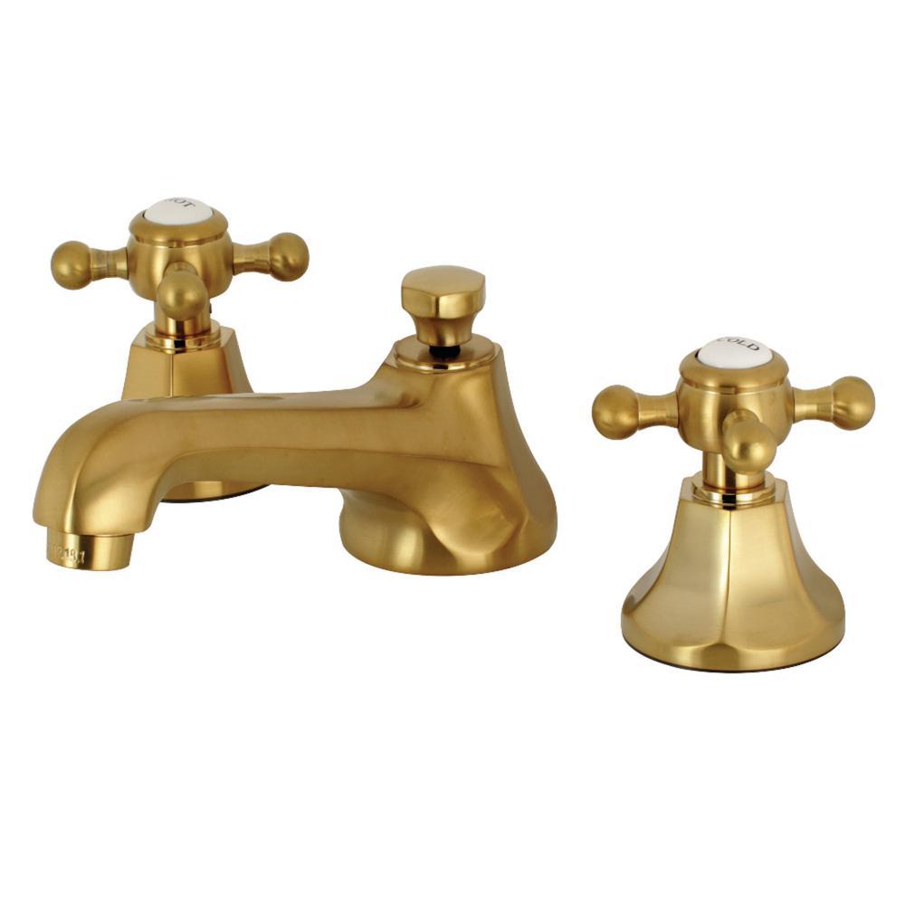 Brushed Brass Cross Handle Faucet Brass Bathroom Faucets High Arc Bathroom Faucet Kingston Brass