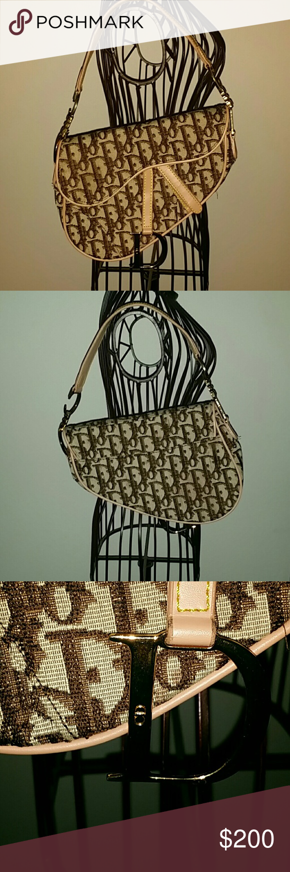 Dior saddle bag Authentic Brown Dior logo saddle bag. Has signature silk paisley lining. Tan leather handle. This bag does has one imperfection on the bottom of the inside lining. Picture shown. It is not noticeable unless searching for it. Comes with dust bag. Dior Bags Shoulder Bags