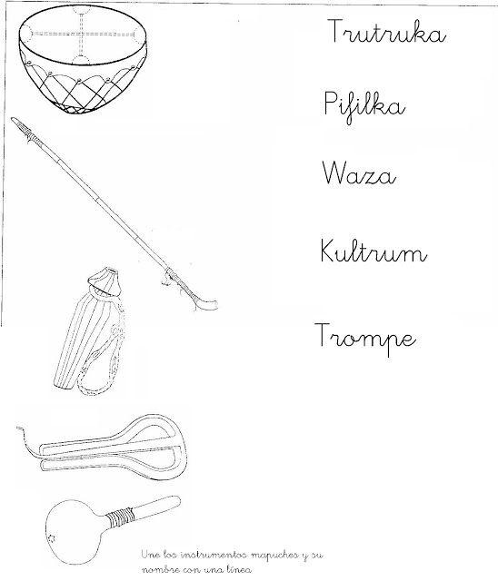 Resultado De Imagen Para Instrumentos Mapuches Para Colorear