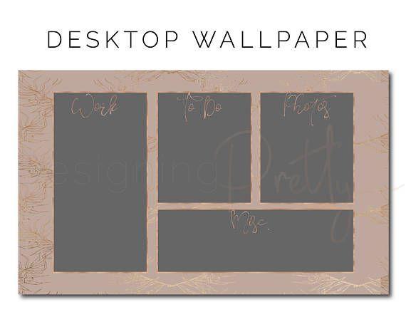 Rose Gold Desktop Wallpaper Organizer | Etsy