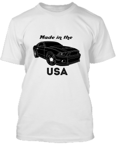 Do you like cars, how about this Tee, represents the USA's made Mustang.  The raw muscle car.