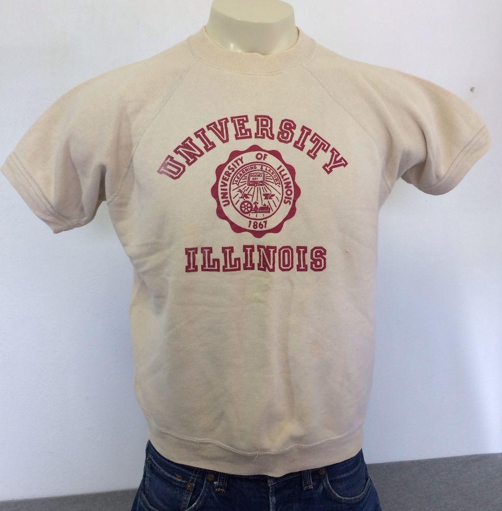 Vintage UNIVERSITY Of ILLINOIS 50s/60s Sweatshirt Short Sleeve ...