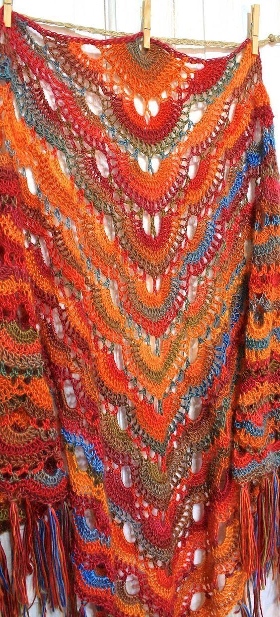 ergahandmade: Crochet Shawl + Video Tutorial | chales | Pinterest ...