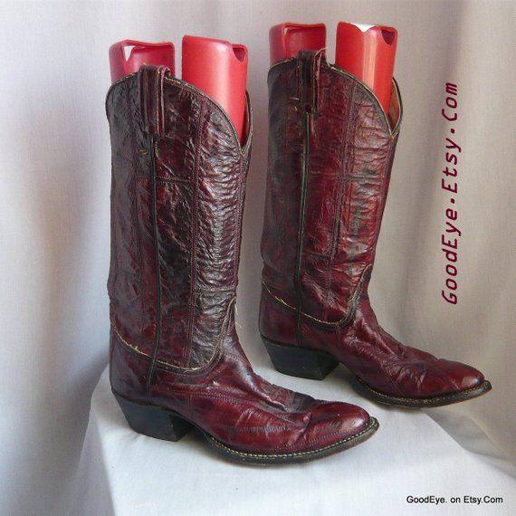 e725c2885ce Vintage Tony Lama EEL SKIN Cowboy Boots / Womens size 9 Eu 40 Uk 6 ...