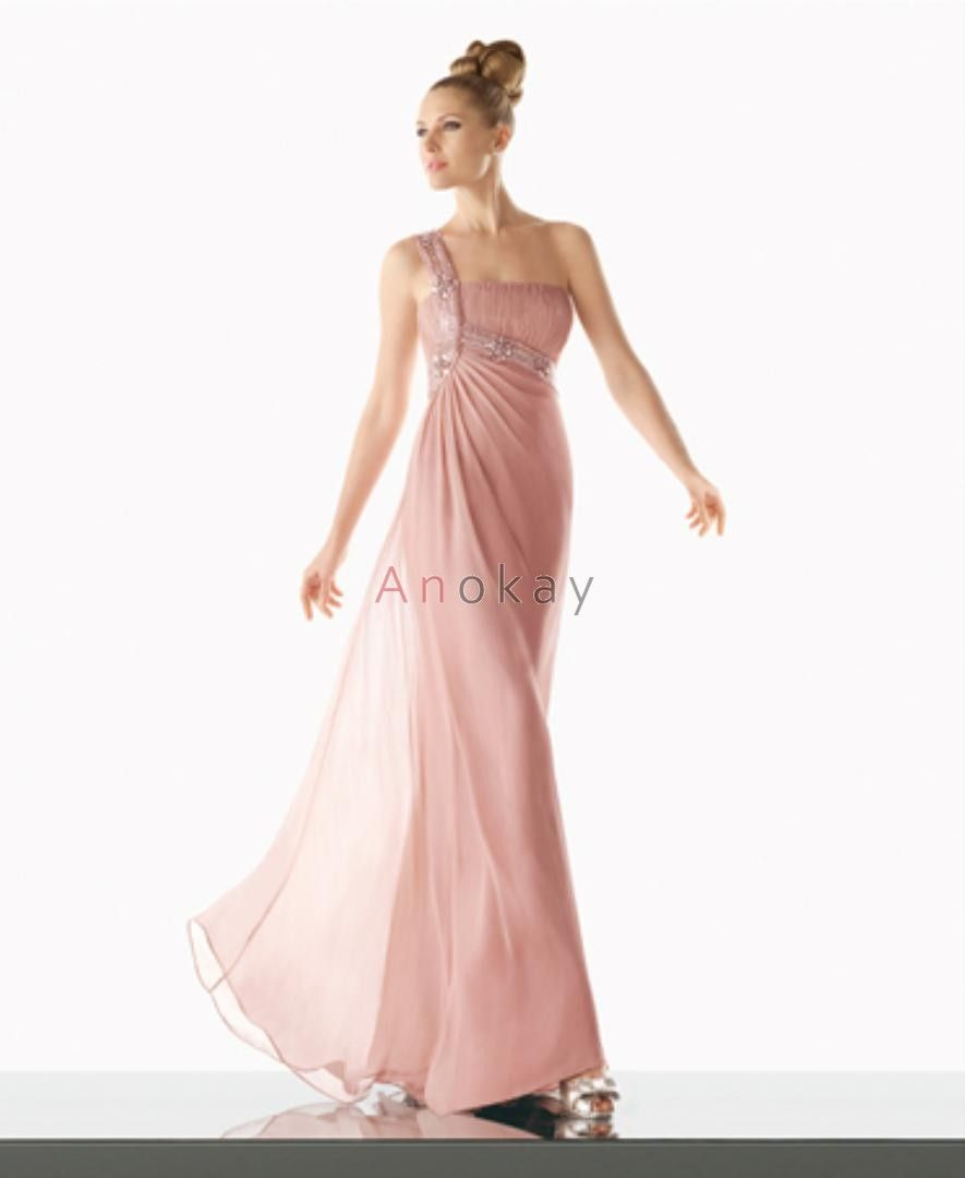 Rosa Eine Schulter Chiffon Empire Abendkleider PMS1305515 ...