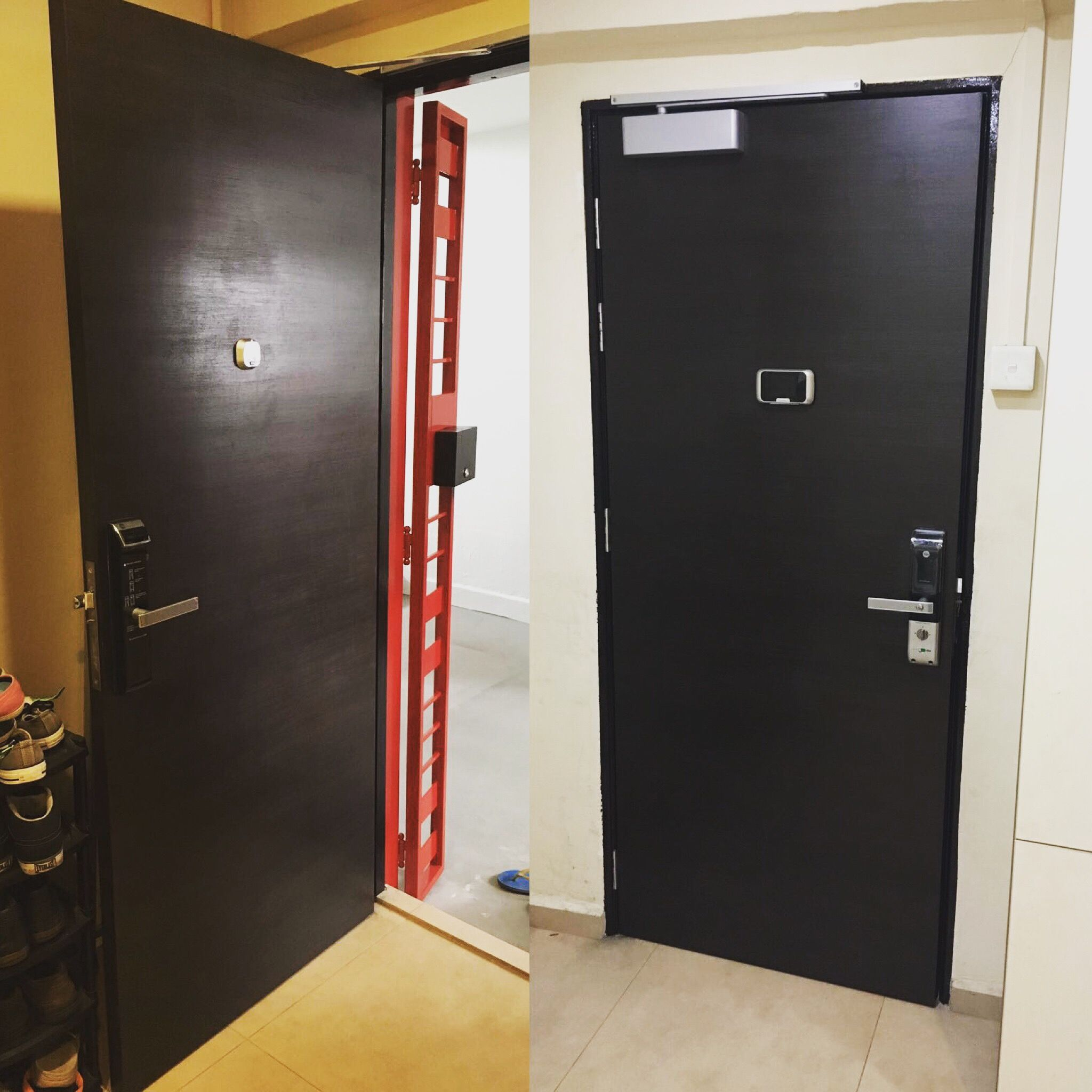 Ultimate Black Hdb Main Door Installed By Marvin With Yale