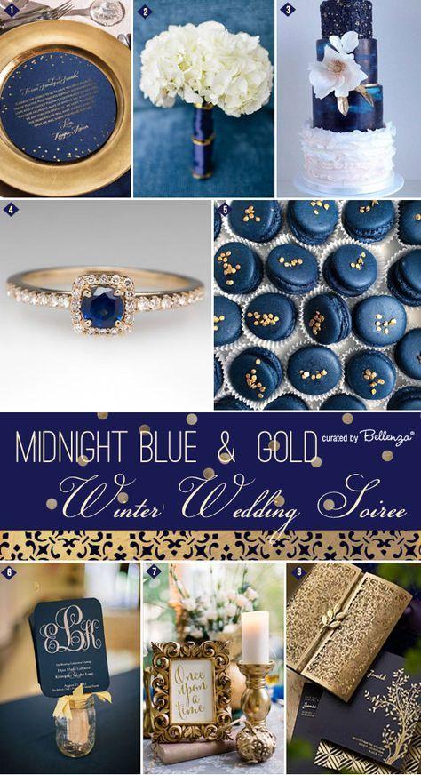 Midnight Blue Gold Inspiration Winter Wedding Soiree Series