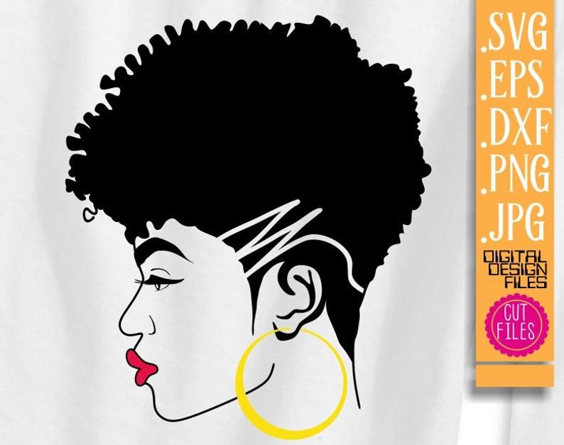 Afro Woman Svg Red Lips Short Hair Earrings Svg