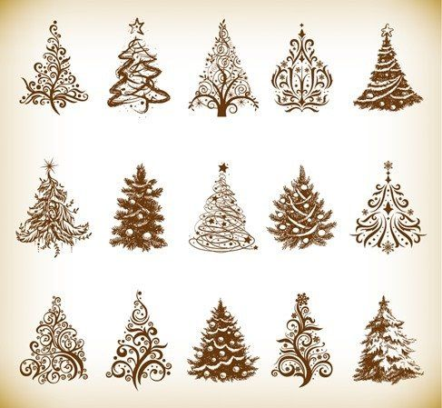 Christmas Tree Vector Graphics Set Patterns Christmas Tree