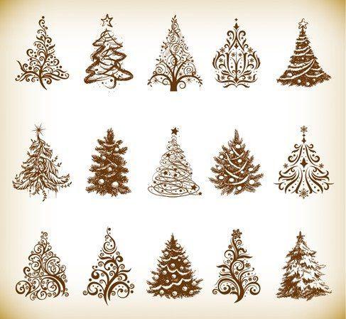 Christmas Tree Vector Graphics Set Patterns Christmas Tree