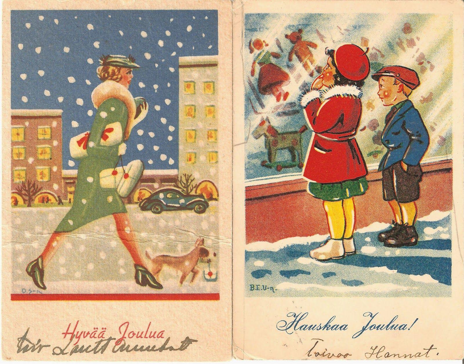 Tässä muutamia esimerkkejä keräämistäni joulukorteista.                Tämän kortin on piirtänyt Nerman.                              ...