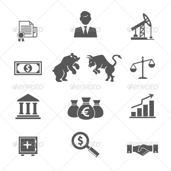 Set Of Black And White Financial Stock Icons Stock Icon Black And White Icon Illustration