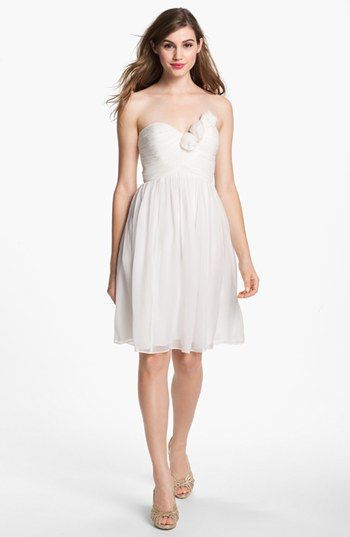 Donna Morgan Strapless Rosette Detail Chiffon Dress Nordstrom
