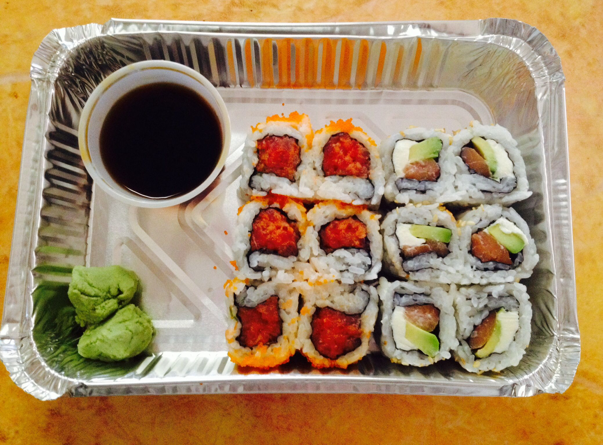 Lunch!! Japanese please!! Sushi philly roll & spicy tuna extra wasabi