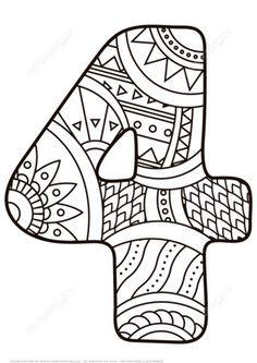 Disegno da colorare di numero zentangle 4 categorie for Zentangle per bambini