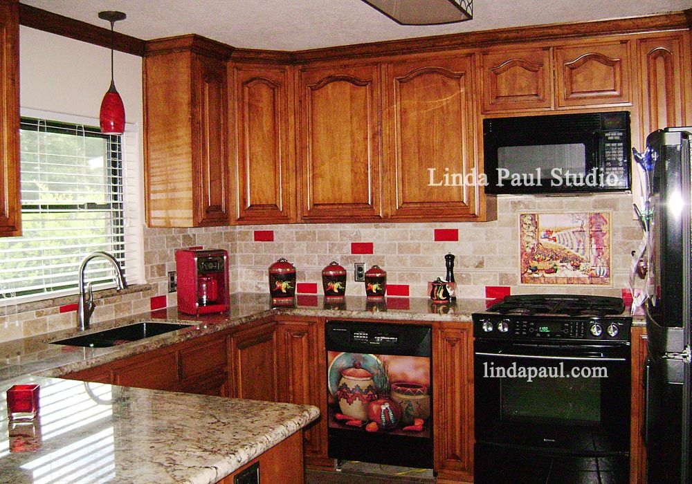 Red Gl Tile Kitchen Backsplash Southwest Chili Pepper Accents 10322 Design Ideas