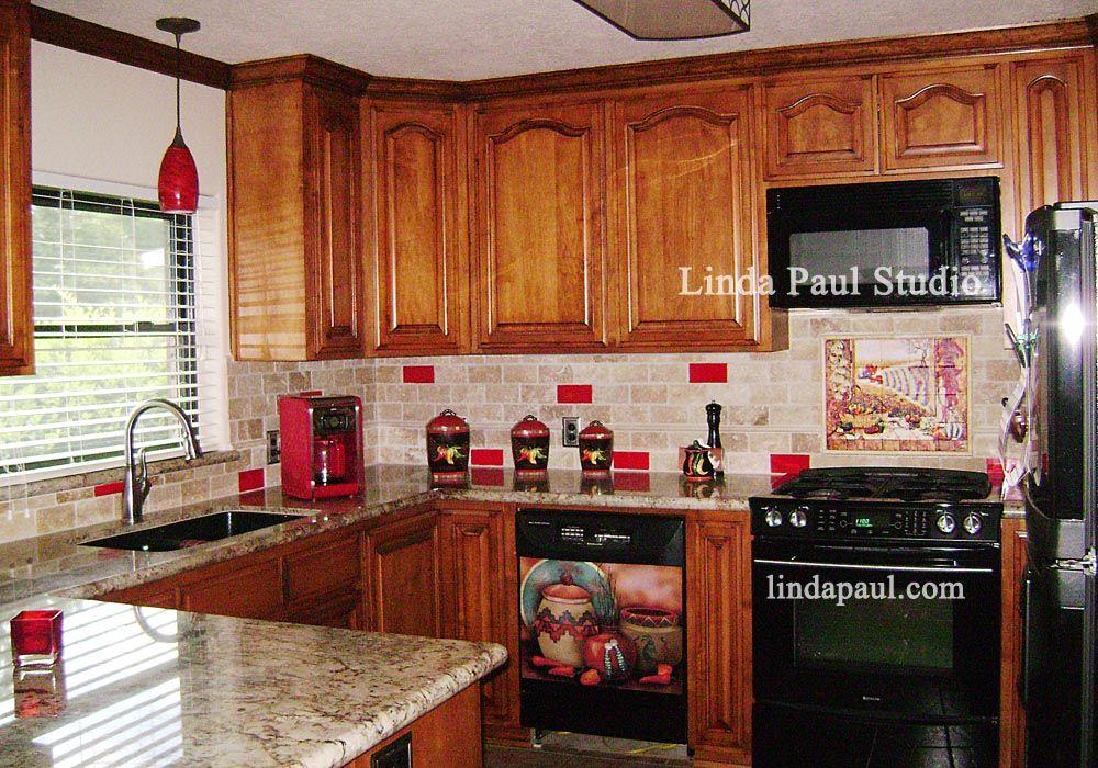 Red Glass Tile Kitchen Backsplash Southwest Kitchen Chili Pepper
