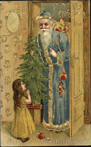 Blue robe santa holding tree little girl staring at him A Merry christmas