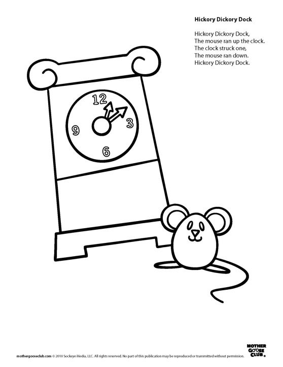 coloring pages hickory dickory dock