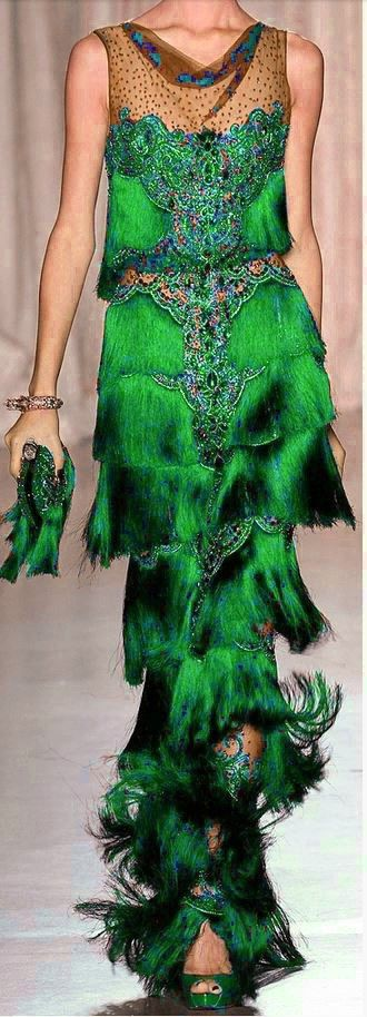 Green - Marchesa ready to wear evening gown - Spring 2013 | LONG ...
