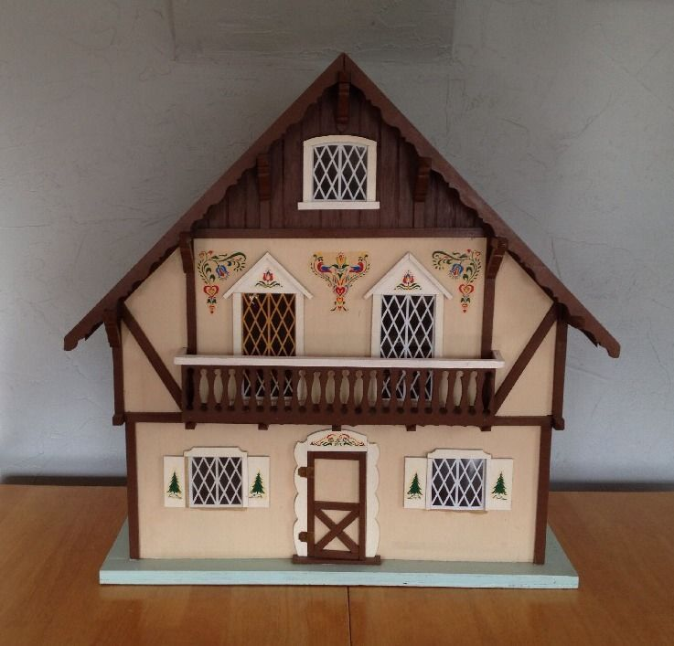 Vintage Wooden Doll House Alpine Chalet Large