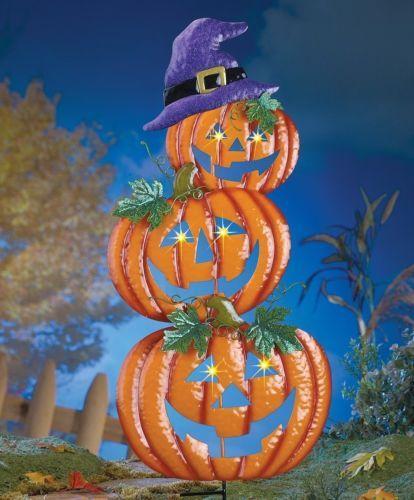 Halloween-Lighted-Pumpkins-Stake-Yard-Lanterns-Spooky-Outdoor-Decor - halloween lighted decorations