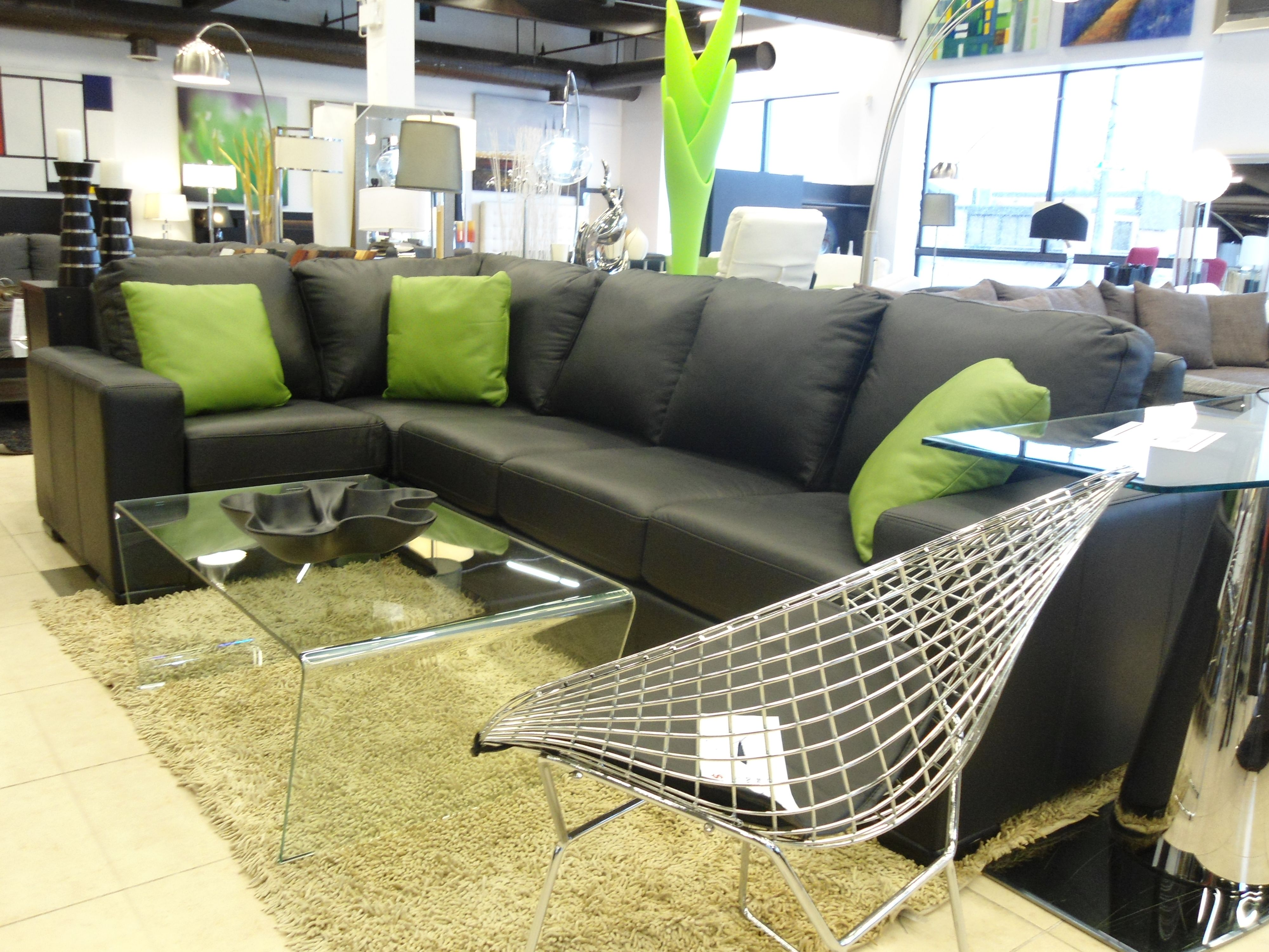 Modern black leather sofa with mint green pillows made for Mint green sectional sofa